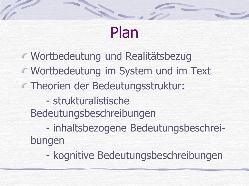 Plan Wortbedeutung und Realitätsbezug Wortbedeutung im System und im Text Theorien der Bedeutungsstruktur: - strukturalistische Bedeutungsbeschreibung