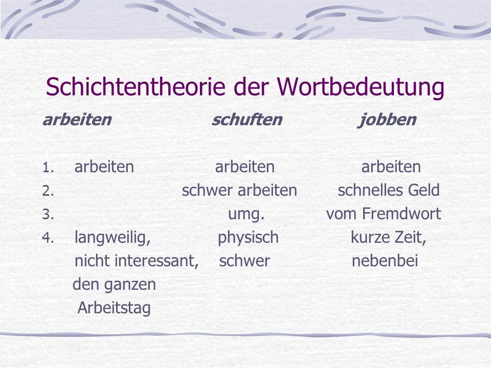 Schichtentheorie der Wortbedeutung arbeiten schuften jobben 1. arbeiten arbeiten arbeiten 2. schwer arbeiten schnelles Geld 3. umg. vom Fremdwort 4. l