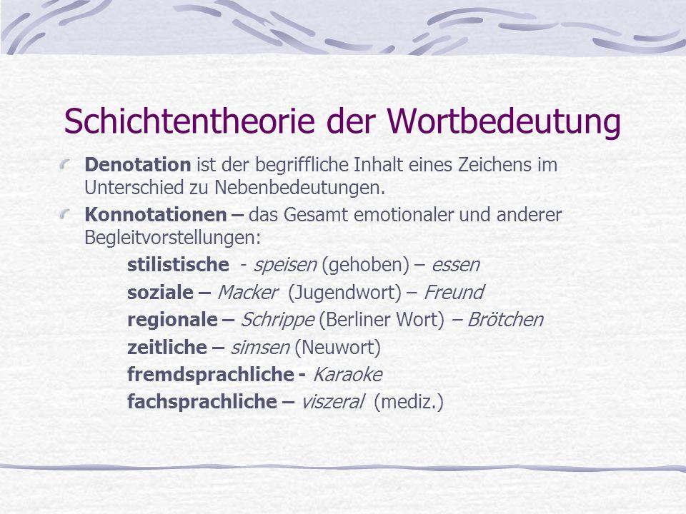Schichtentheorie der Wortbedeutung Denotation ist der begriffliche Inhalt eines Zeichens im Unterschied zu Nebenbedeutungen. Konnotationen – das Gesam