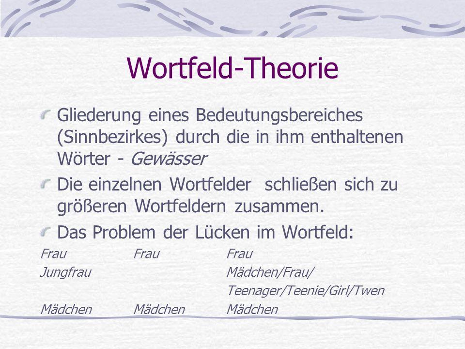 Wortfeld-Theorie Gliederung eines Bedeutungsbereiches (Sinnbezirkes) durch die in ihm enthaltenen Wörter - Gewässer Die einzelnen Wortfelder schließen