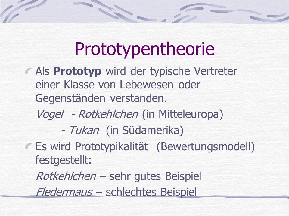 Prototypentheorie Als Prototyp wird der typische Vertreter einer Klasse von Lebewesen oder Gegenständen verstanden.