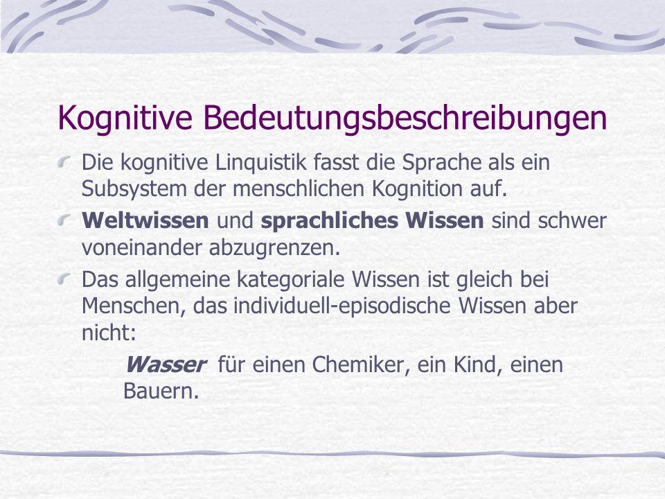 Kognitive Bedeutungsbeschreibungen Die kognitive Linquistik fasst die Sprache als ein Subsystem der menschlichen Kognition auf. Weltwissen und sprachl