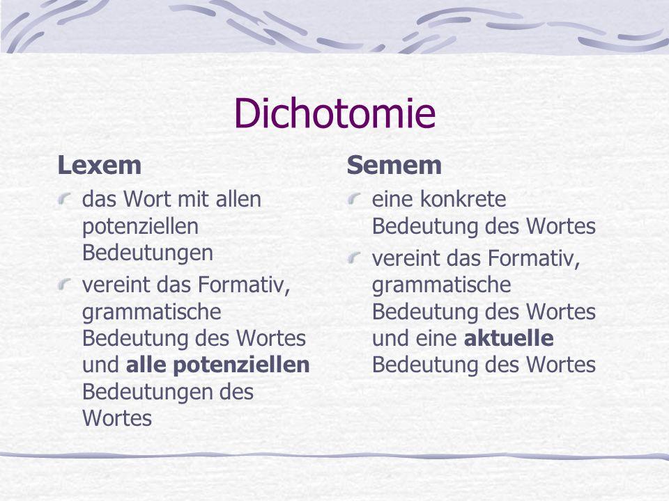 Dichotomie Lexem das Wort mit allen potenziellen Bedeutungen vereint das Formativ, grammatische Bedeutung des Wortes und alle potenziellen Bedeutungen des Wortes Semem eine konkrete Bedeutung des Wortes vereint das Formativ, grammatische Bedeutung des Wortes und eine aktuelle Bedeutung des Wortes