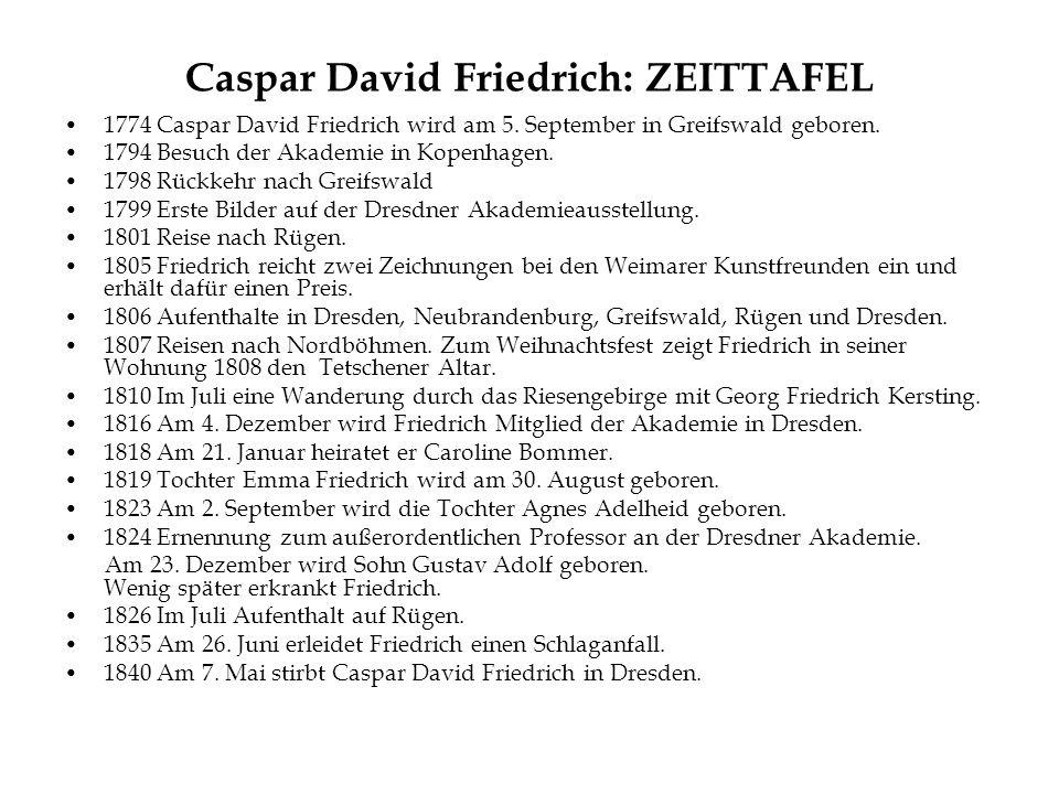 Caspar David Friedrich: ZEITTAFEL 1774 Caspar David Friedrich wird am 5.