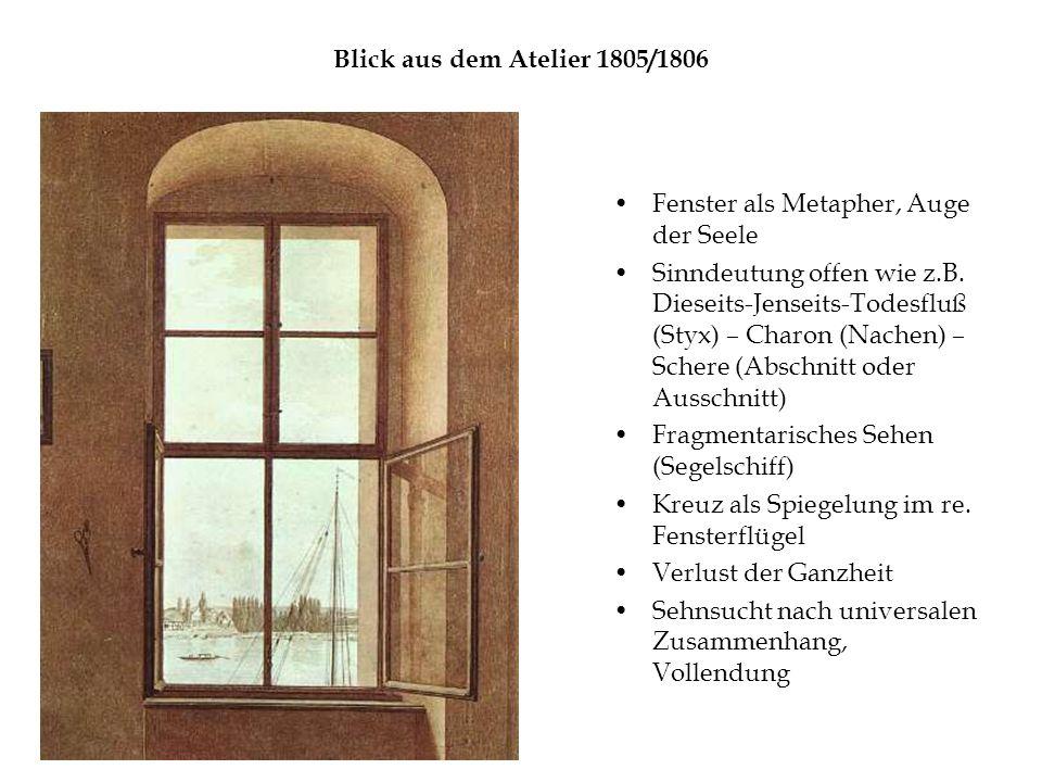 Blick aus dem Atelier 1805/1806 Fenster als Metapher, Auge der Seele Sinndeutung offen wie z.B.