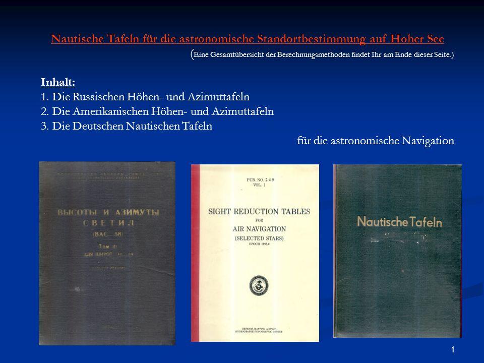 1 Nautische Tafeln für die astronomische Standortbestimmung auf Hoher See ( Eine Gesamtübersicht der Berechnungsmethoden findet Ihr am Ende dieser Seite.) Inhalt: 1.