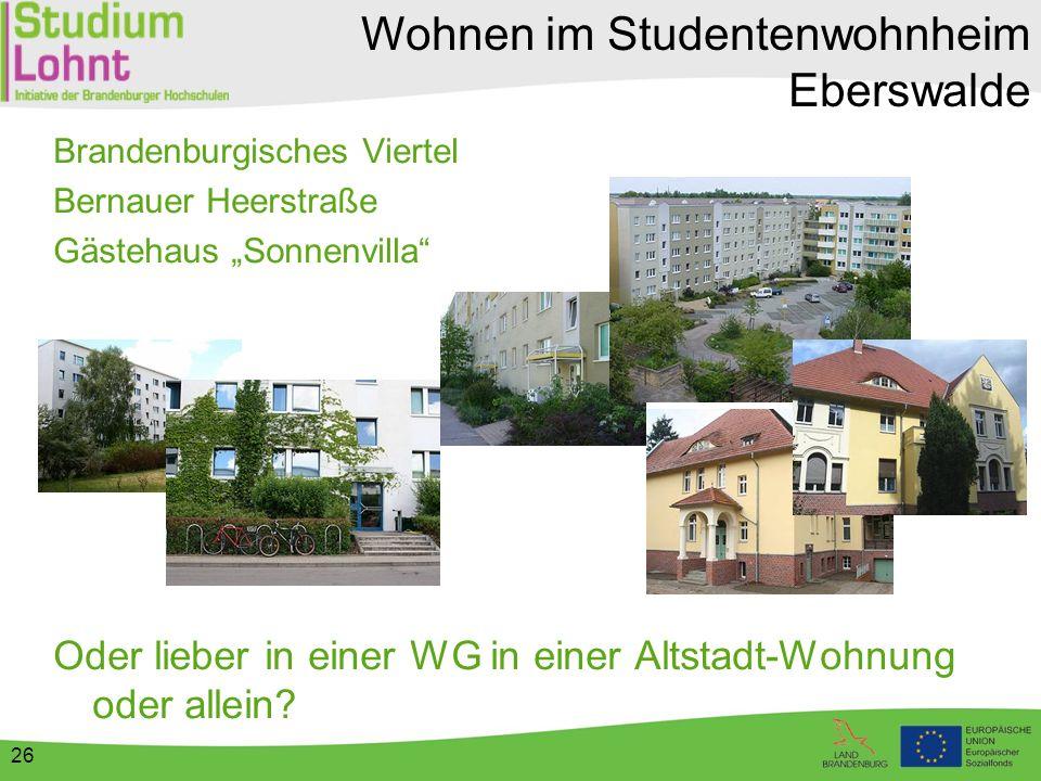 """Wohnen im Studentenwohnheim Eberswalde Brandenburgisches Viertel Bernauer Heerstraße Gästehaus """"Sonnenvilla"""" Oder lieber in einer WG in einer Altstadt"""