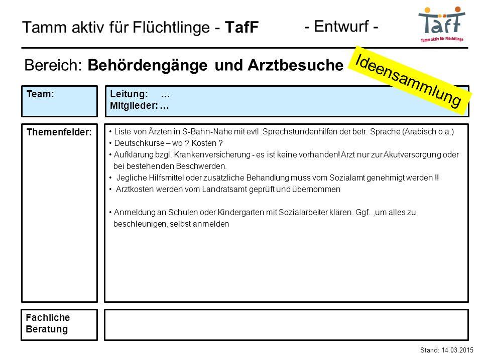 Tamm aktiv für Flüchtlinge - TafF Stand: 14.03.2015 Bereich: Behördengänge und Arztbesuche Liste von Ärzten in S-Bahn-Nähe mit evtl.Sprechstundenhilfen der betr.