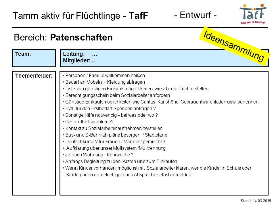 Tamm aktiv für Flüchtlinge - TafF Stand: 14.03.2015 Bereich: Patenschaften Personen / Familie willkommen heißen Bedarf an Möbeln + Kleidung abfragen Liste von günstigen Einkaufsmöglichkeiten, wie z.b.