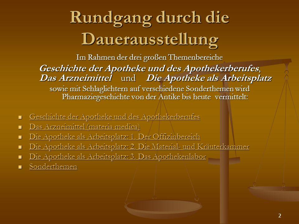2 Rundgang durch die Dauerausstellung Im Rahmen der drei großen Themenbereiche Geschichte der Apotheke und des Apothekerberufes, Das Arzneimittel und