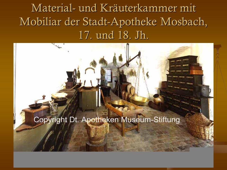 26 Material- und Kräuterkammer mit Mobiliar der Stadt-Apotheke Mosbach, 17. und 18. Jh.