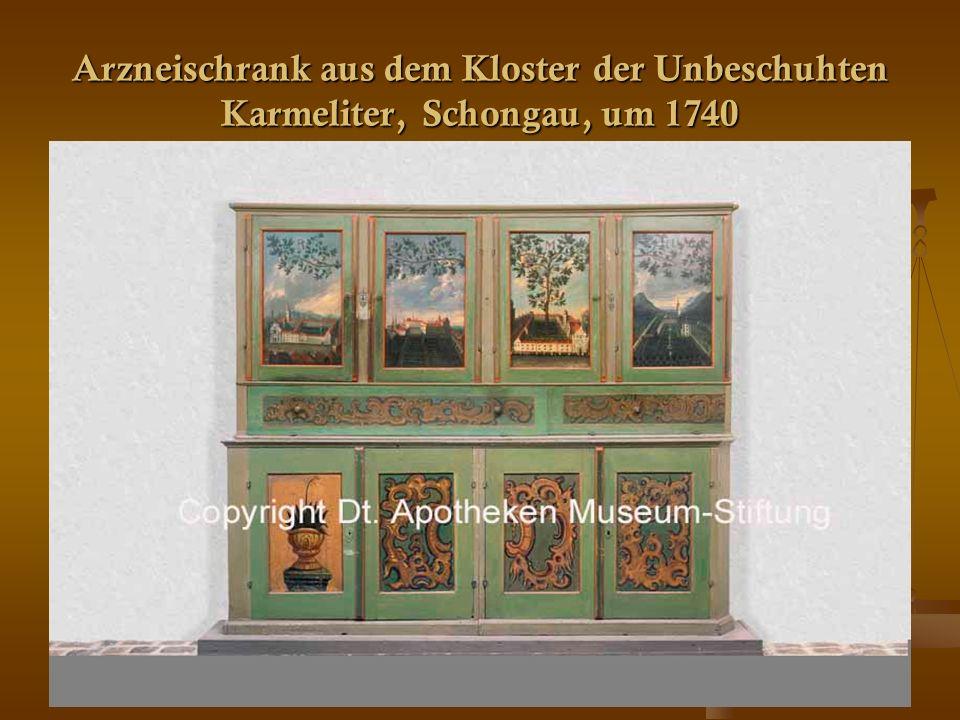 29 Arzneischrank aus dem Kloster der Unbeschuhten Karmeliter, Schongau, um 1740