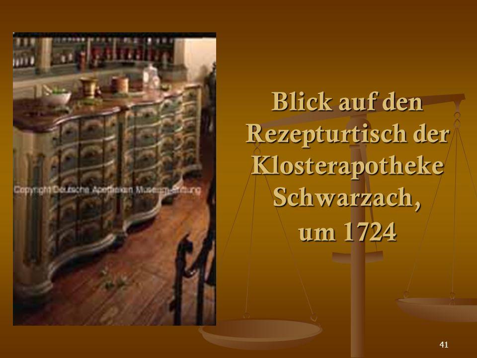 41 Blick auf den Rezepturtisch der Klosterapotheke Schwarzach, um 1724
