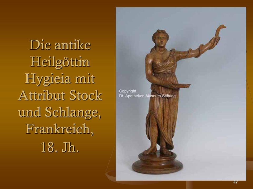 47 Die antike Heilgöttin Hygieia mit Attribut Stock und Schlange, Frankreich, 18. Jh.