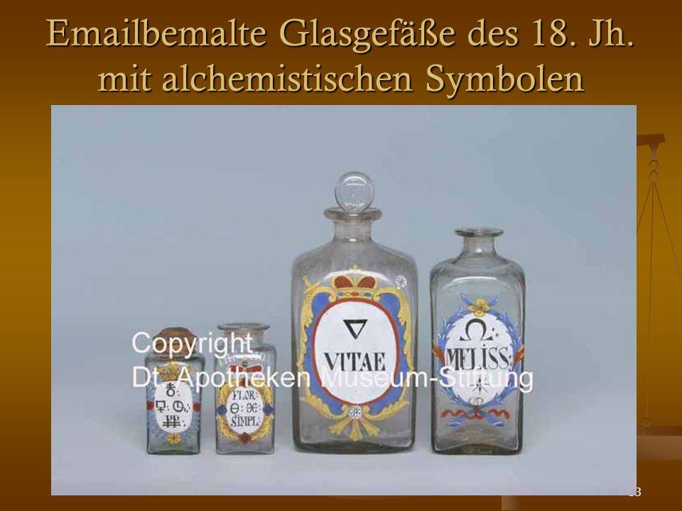 53 Emailbemalte Glasgefäße des 18. Jh. mit alchemistischen Symbolen