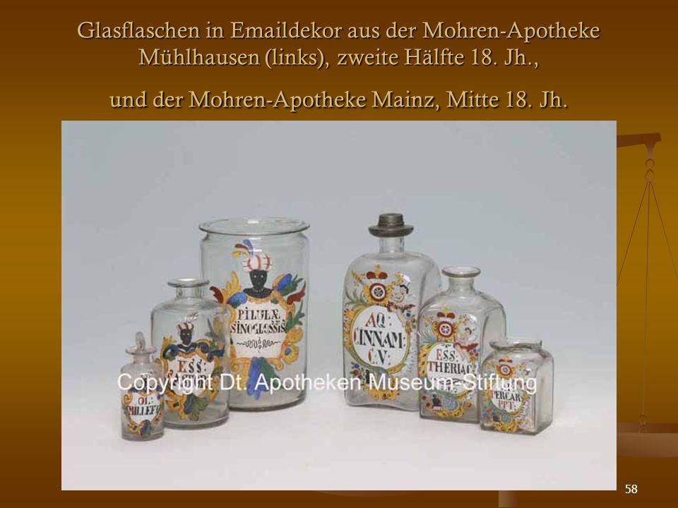 58 Glasflaschen in Emaildekor aus der Mohren-Apotheke Mühlhausen (links), zweite Hälfte 18. Jh., und der Mohren-Apotheke Mainz, Mitte 18. Jh.