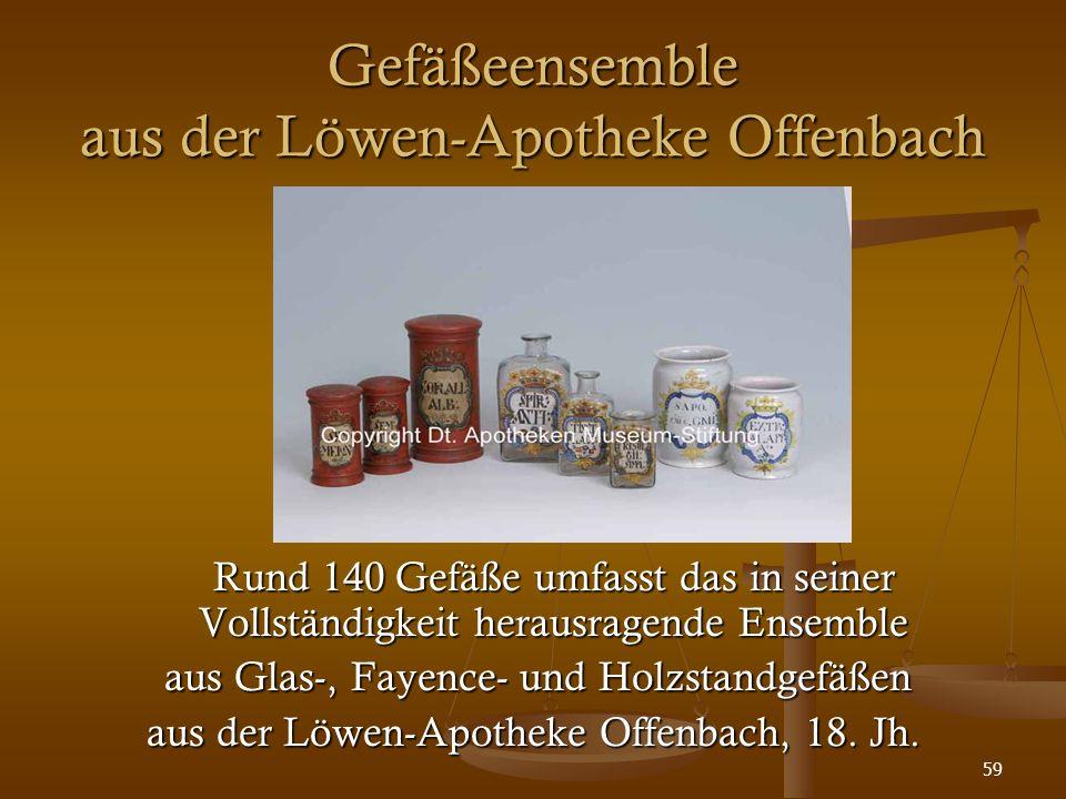 59 Gefäßeensemble aus der Löwen-Apotheke Offenbach Rund 140 Gefäße umfasst das in seiner Vollständigkeit herausragende Ensemble aus Glas-, Fayence- un