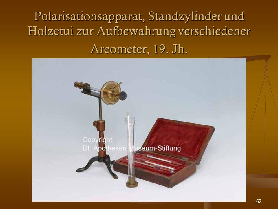 62 Polarisationsapparat, Standzylinder und Holzetui zur Aufbewahrung verschiedener Areometer, 19. Jh.