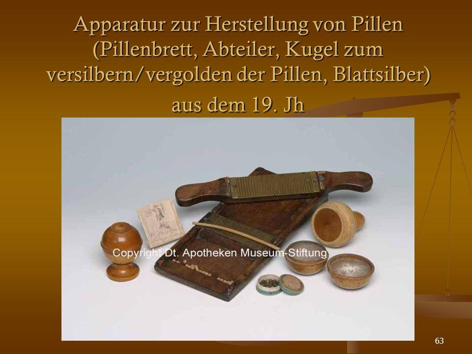 63 Apparatur zur Herstellung von Pillen (Pillenbrett, Abteiler, Kugel zum versilbern/vergolden der Pillen, Blattsilber) aus dem 19. Jh