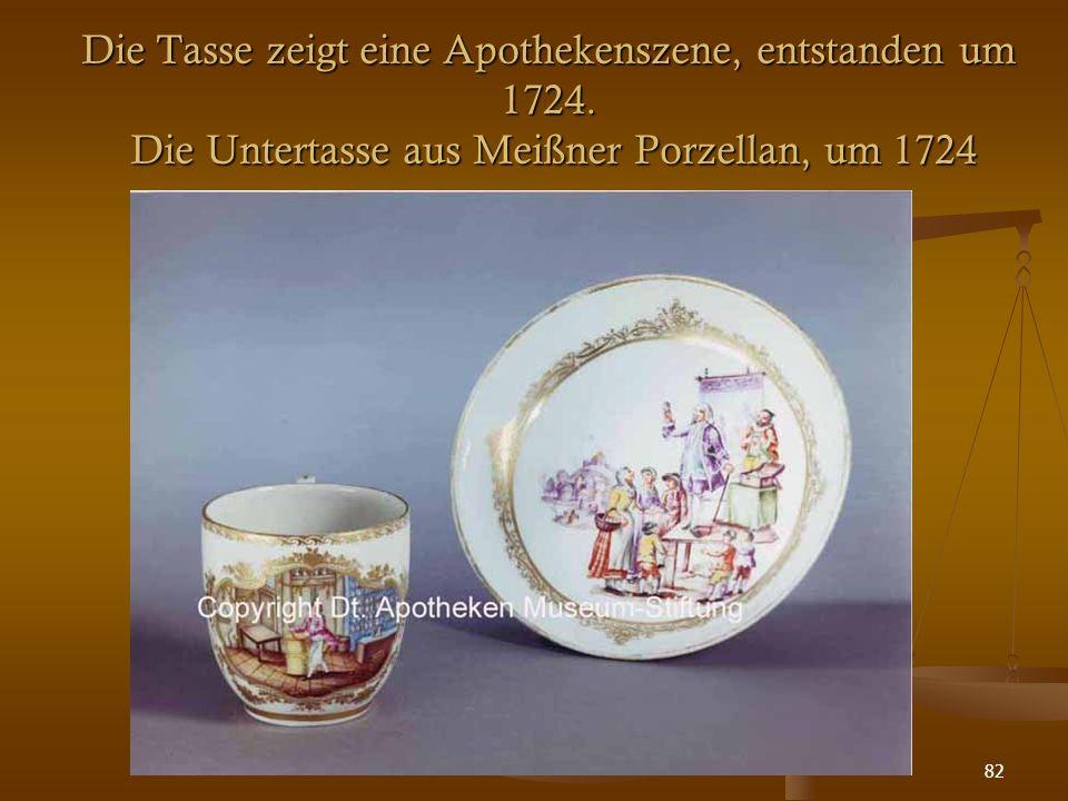 82 Die Tasse zeigt eine Apothekenszene, entstanden um 1724. Die Untertasse aus Meißner Porzellan, um 1724