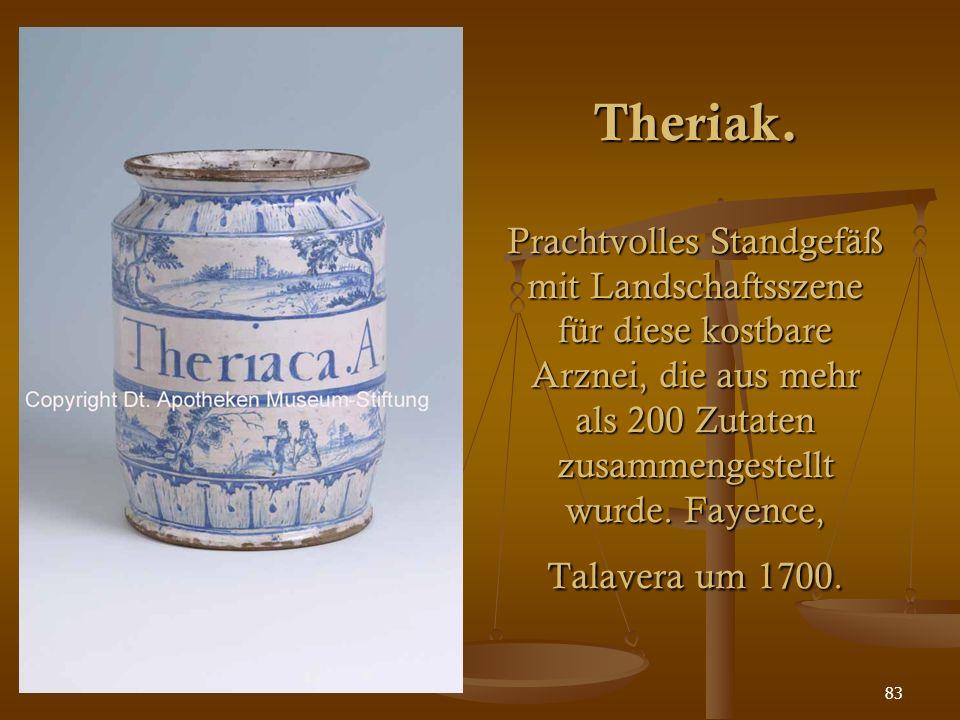 83 Theriak. Prachtvolles Standgefäß mit Landschaftsszene für diese kostbare Arznei, die aus mehr als 200 Zutaten zusammengestellt wurde. Fayence, Tala