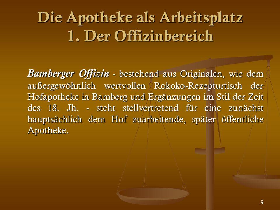 9 Bamberger Offizin - bestehend aus Originalen, wie dem außergewöhnlich wertvollen Rokoko-Rezepturtisch der Hofapotheke in Bamberg und Ergänzungen im