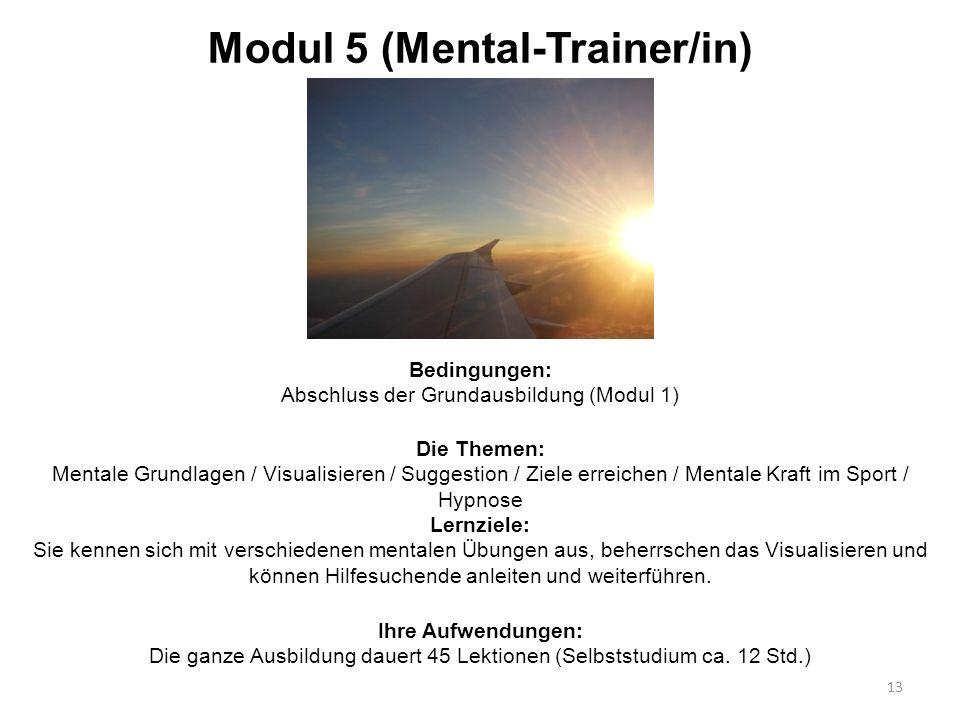 Modul 5 (Mental-Trainer/in) Bedingungen: Abschluss der Grundausbildung (Modul 1) 13 Die Themen: Mentale Grundlagen / Visualisieren / Suggestion / Ziel