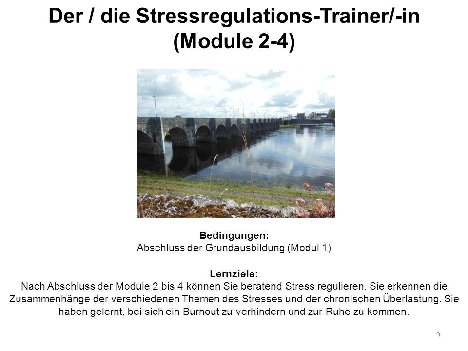 Der / die Stressregulations-Trainer/-in (Module 2-4) 9 Bedingungen: Abschluss der Grundausbildung (Modul 1) Lernziele: Nach Abschluss der Module 2 bis