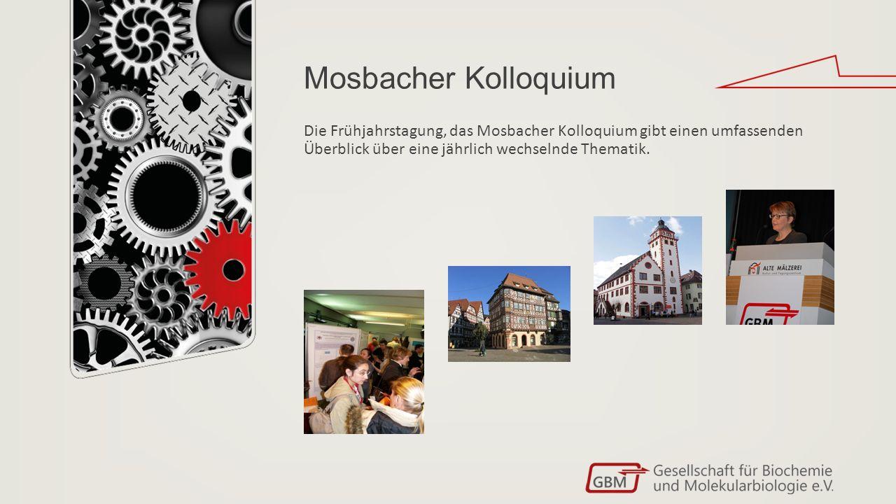 Mosbacher Kolloquium Die Frühjahrstagung, das Mosbacher Kolloquium gibt einen umfassenden Überblick über eine jährlich wechselnde Thematik.