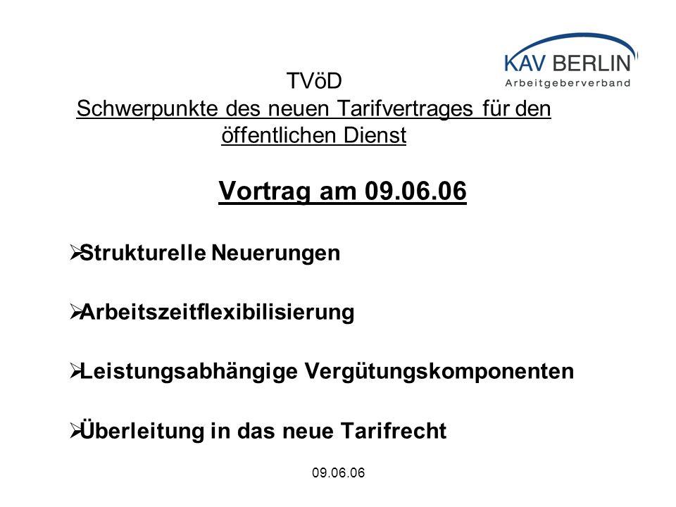 09.06.06 TVöD Schwerpunkte des neuen Tarifvertrages für den öffentlichen Dienst Vortrag am 09.06.06  Strukturelle Neuerungen  Arbeitszeitflexibilisierung  Leistungsabhängige Vergütungskomponenten  Überleitung in das neue Tarifrecht