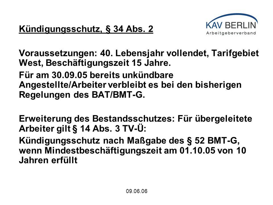 09.06.06 Kündigungsschutz, § 34 Abs. 2 Voraussetzungen: 40.