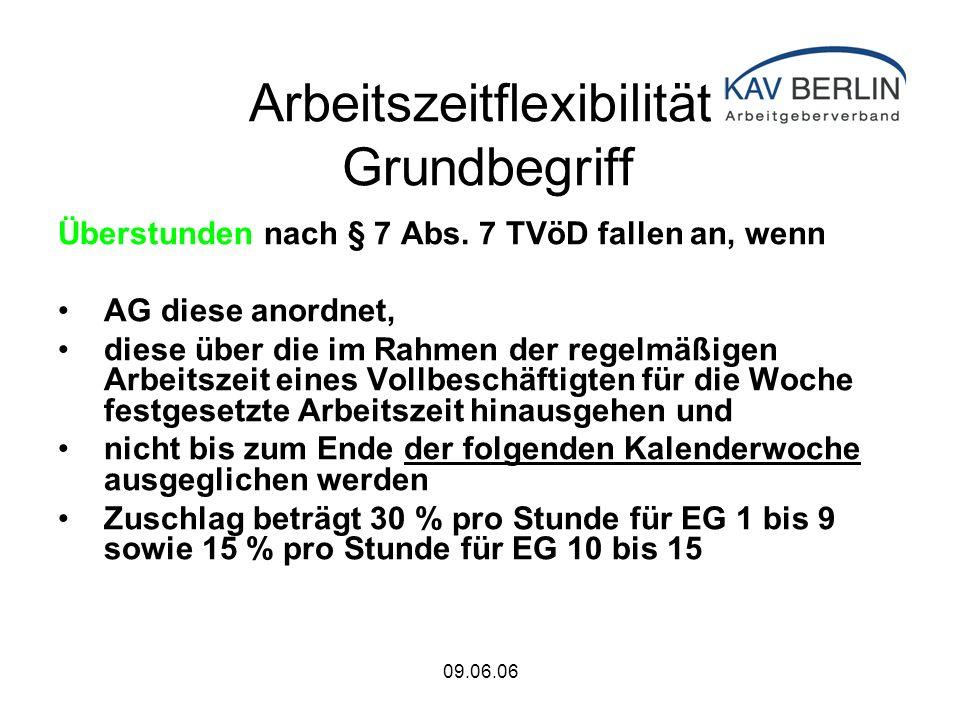 09.06.06 Arbeitszeitflexibilität Grundbegriff Überstunden nach § 7 Abs.