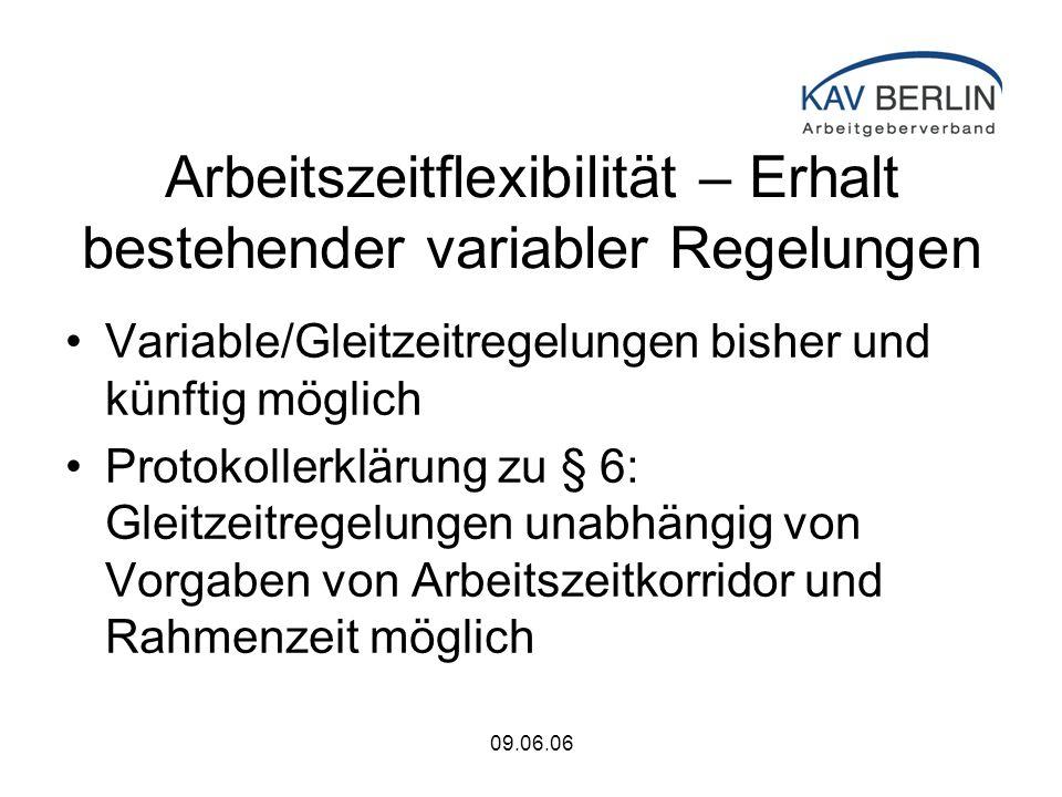 09.06.06 Arbeitszeitflexibilität – Erhalt bestehender variabler Regelungen Variable/Gleitzeitregelungen bisher und künftig möglich Protokollerklärung zu § 6: Gleitzeitregelungen unabhängig von Vorgaben von Arbeitszeitkorridor und Rahmenzeit möglich