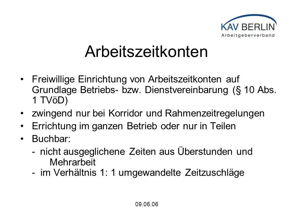 09.06.06 Arbeitszeitkonten Freiwillige Einrichtung von Arbeitszeitkonten auf Grundlage Betriebs- bzw.