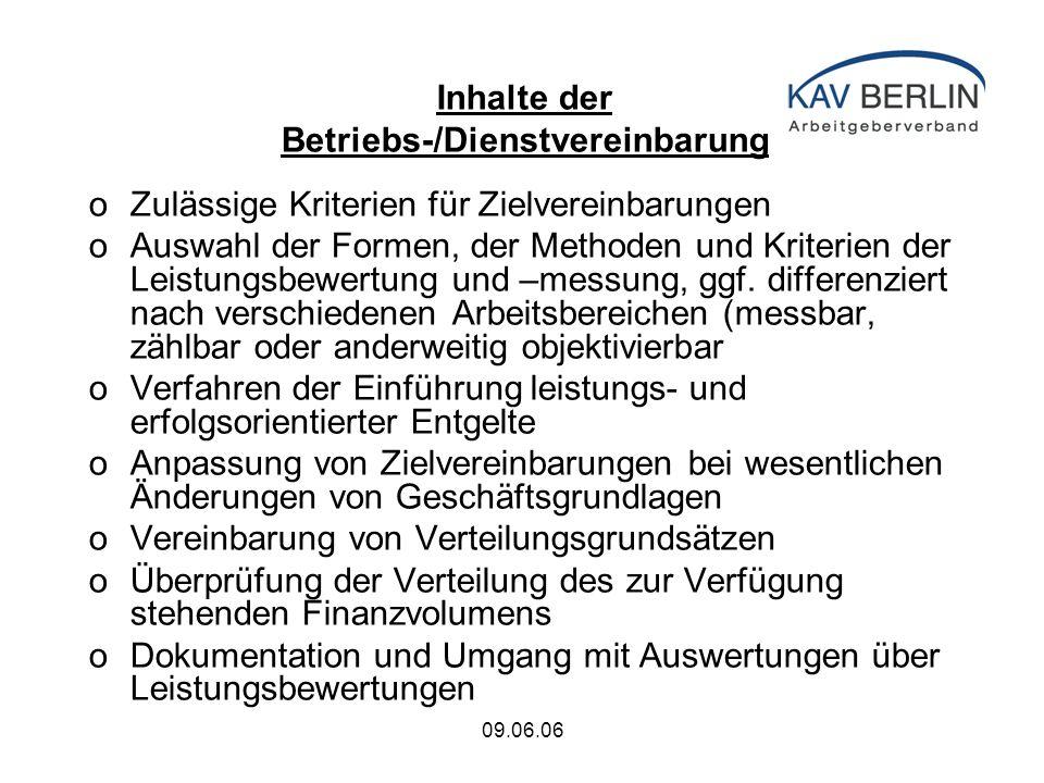 09.06.06 Inhalte der Betriebs-/Dienstvereinbarung oZulässige Kriterien für Zielvereinbarungen oAuswahl der Formen, der Methoden und Kriterien der Leistungsbewertung und –messung, ggf.