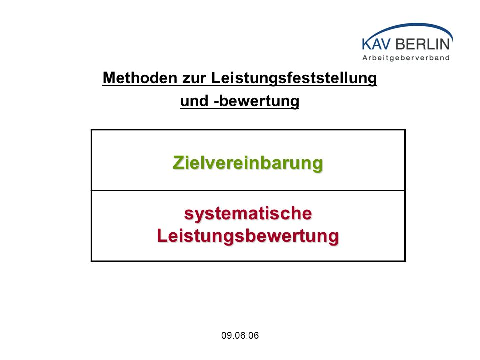 09.06.06 Methoden zur Leistungsfeststellung und -bewertung Zielvereinbarung systematische Leistungsbewertung