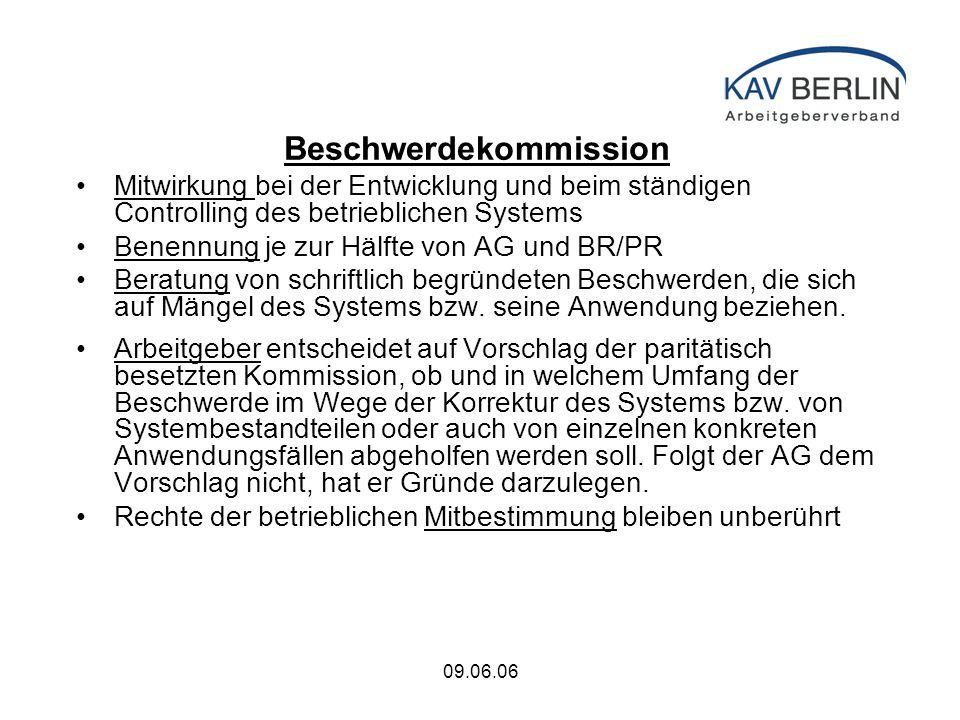 09.06.06 Beschwerdekommission Mitwirkung bei der Entwicklung und beim ständigen Controlling des betrieblichen Systems Benennung je zur Hälfte von AG und BR/PR Beratung von schriftlich begründeten Beschwerden, die sich auf Mängel des Systems bzw.