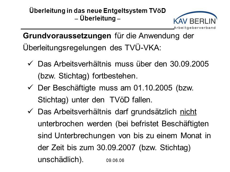 09.06.06 Grundvoraussetzungen für die Anwendung der Überleitungsregelungen des TVÜ-VKA: Das Arbeitsverhältnis muss über den 30.09.2005 (bzw.