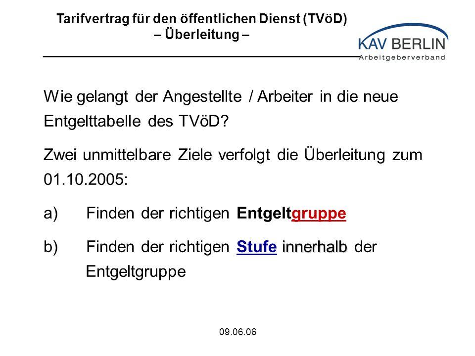 09.06.06 Wie gelangt der Angestellte / Arbeiter in die neue Entgelttabelle des TVöD.