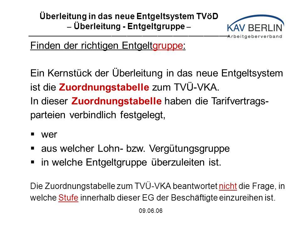 09.06.06 Finden der richtigen Entgeltgruppe: Ein Kernstück der Überleitung in das neue Entgeltsystem ist die Zuordnungstabelle zum TVÜ-VKA.