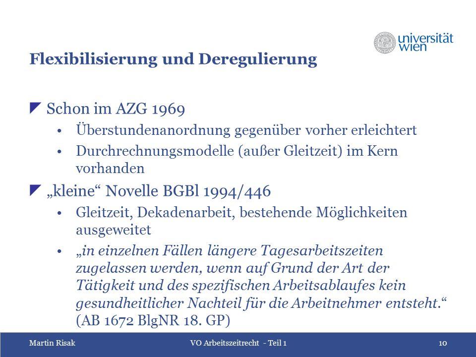 Martin RisakVO Arbeitszeitrecht - Teil 110 Flexibilisierung und Deregulierung  Schon im AZG 1969 Überstundenanordnung gegenüber vorher erleichtert Du