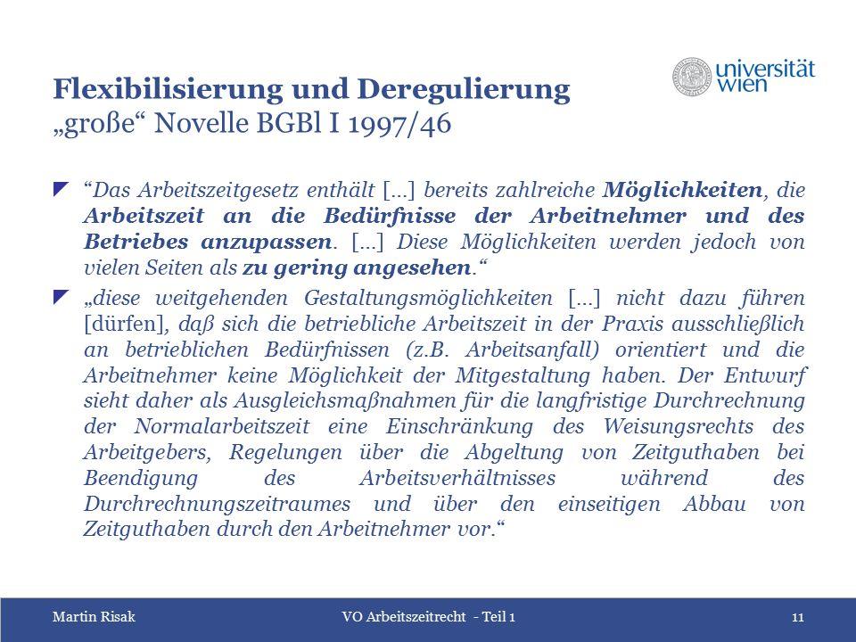 """Martin RisakVO Arbeitszeitrecht - Teil 111 Flexibilisierung und Deregulierung """"große Novelle BGBl I 1997/46  Das Arbeitszeitgesetz enthält […] bereits zahlreiche Möglichkeiten, die Arbeitszeit an die Bedürfnisse der Arbeitnehmer und des Betriebes anzupassen."""
