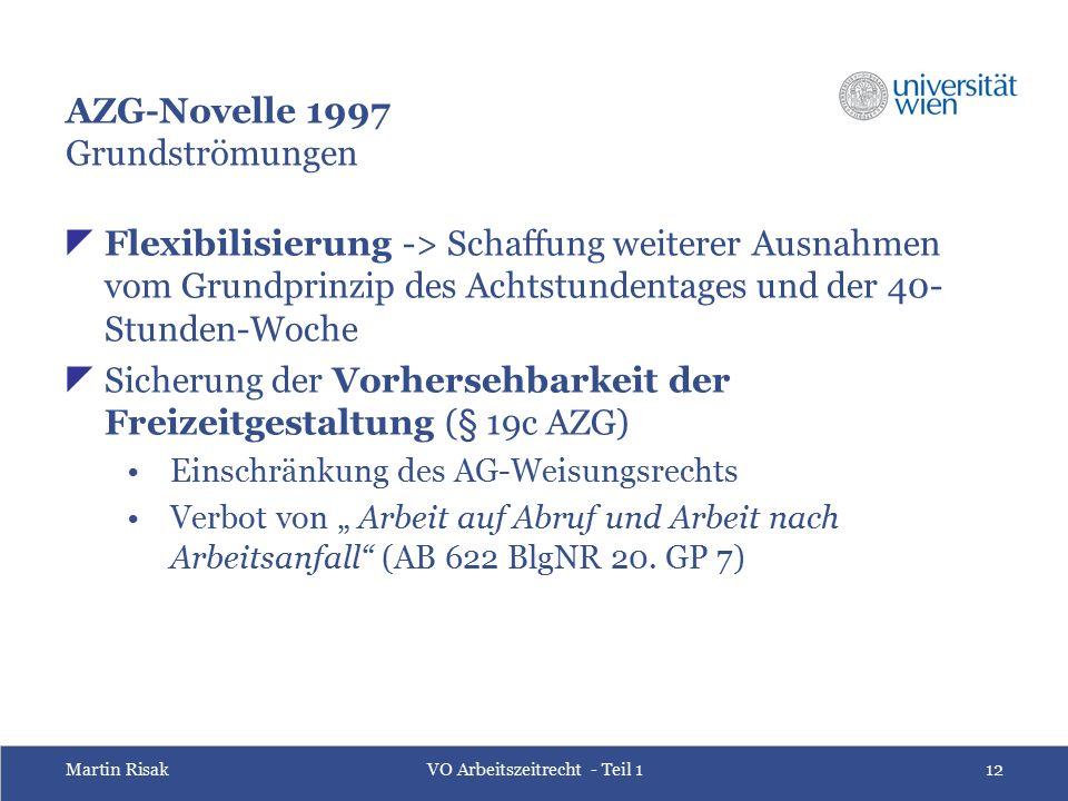 Martin RisakVO Arbeitszeitrecht - Teil 112 AZG-Novelle 1997 Grundströmungen  Flexibilisierung -> Schaffung weiterer Ausnahmen vom Grundprinzip des Ac