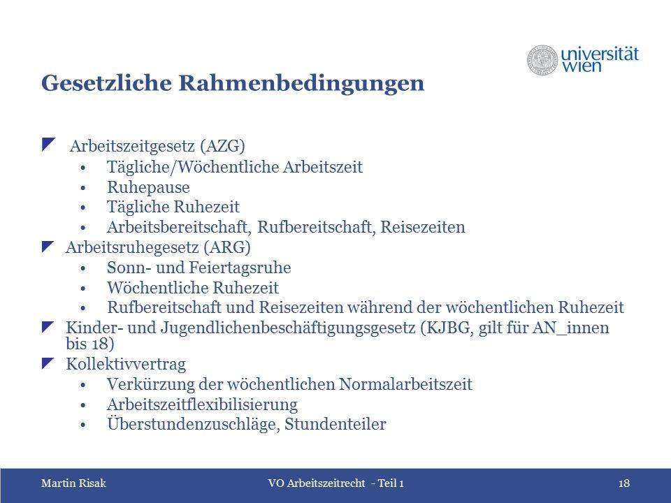 Martin RisakVO Arbeitszeitrecht - Teil 118 Gesetzliche Rahmenbedingungen  Arbeitszeitgesetz (AZG) Tägliche/Wöchentliche Arbeitszeit Ruhepause Täglich