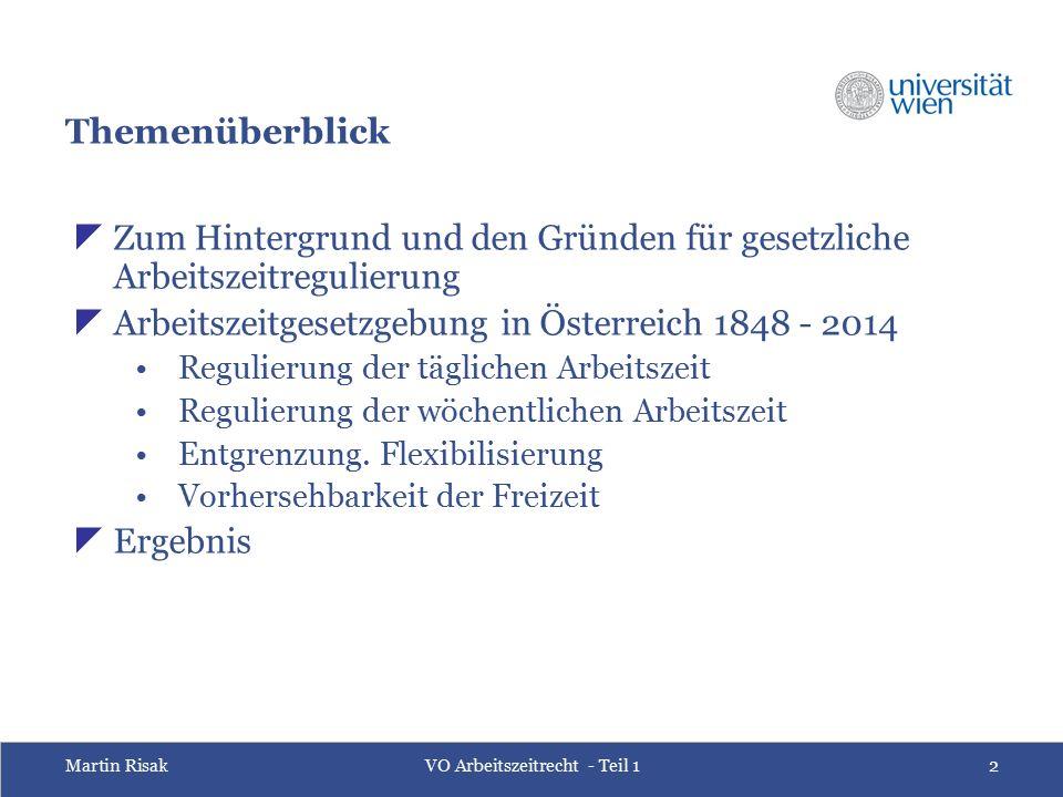 Martin RisakVO Arbeitszeitrecht - Teil 12 Themenüberblick  Zum Hintergrund und den Gründen für gesetzliche Arbeitszeitregulierung  Arbeitszeitgesetz