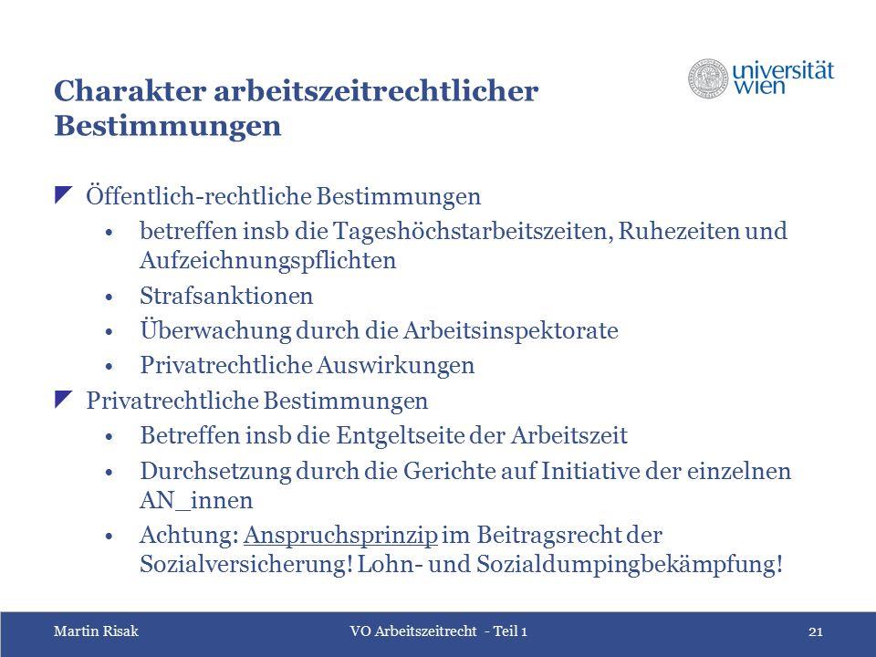 Martin RisakVO Arbeitszeitrecht - Teil 121 Charakter arbeitszeitrechtlicher Bestimmungen  Öffentlich-rechtliche Bestimmungen betreffen insb die Tages