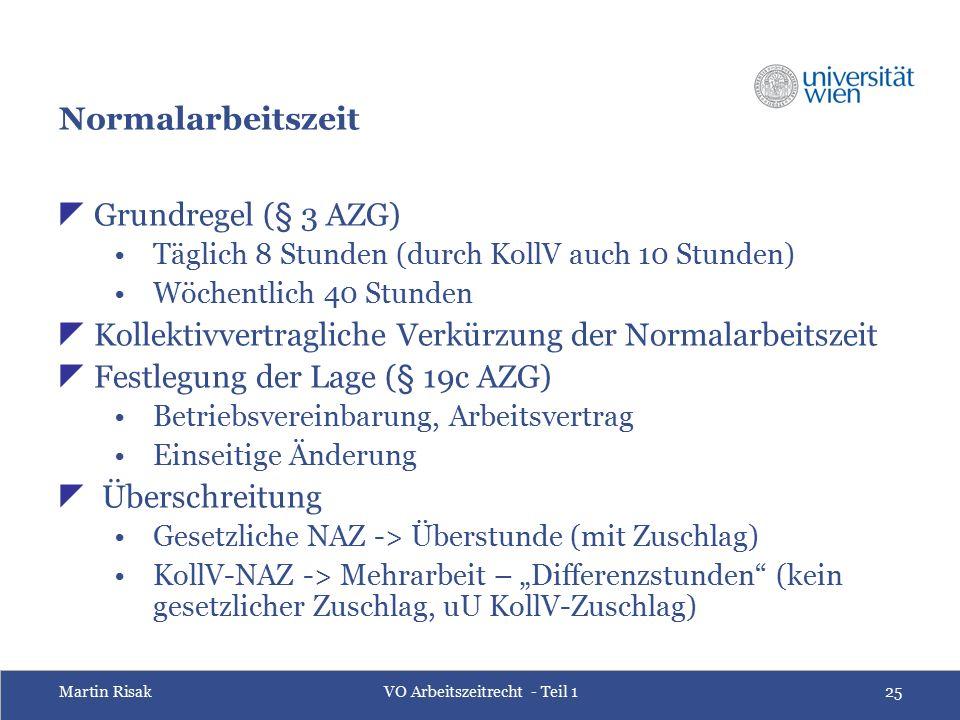 Martin RisakVO Arbeitszeitrecht - Teil 125 Normalarbeitszeit  Grundregel (§ 3 AZG) Täglich 8 Stunden (durch KollV auch 10 Stunden) Wöchentlich 40 Stu