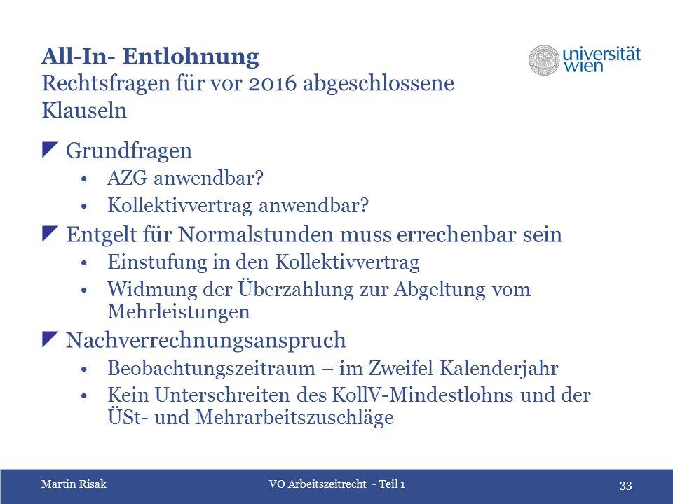 Martin RisakVO Arbeitszeitrecht - Teil 133 All-In- Entlohnung Rechtsfragenfür vor 2016 abgeschlossene Klauseln  Grundfragen AZG anwendbar? Kollektivv