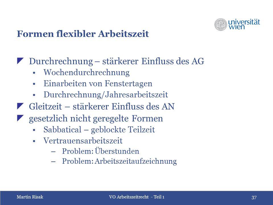 Martin RisakVO Arbeitszeitrecht - Teil 137 Formen flexibler Arbeitszeit  Durchrechnung – stärkerer Einfluss des AG Wochendurchrechnung Einarbeiten vo