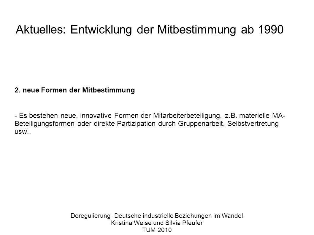 Aktuelles: Entwicklung der Mitbestimmung ab 1990 2.